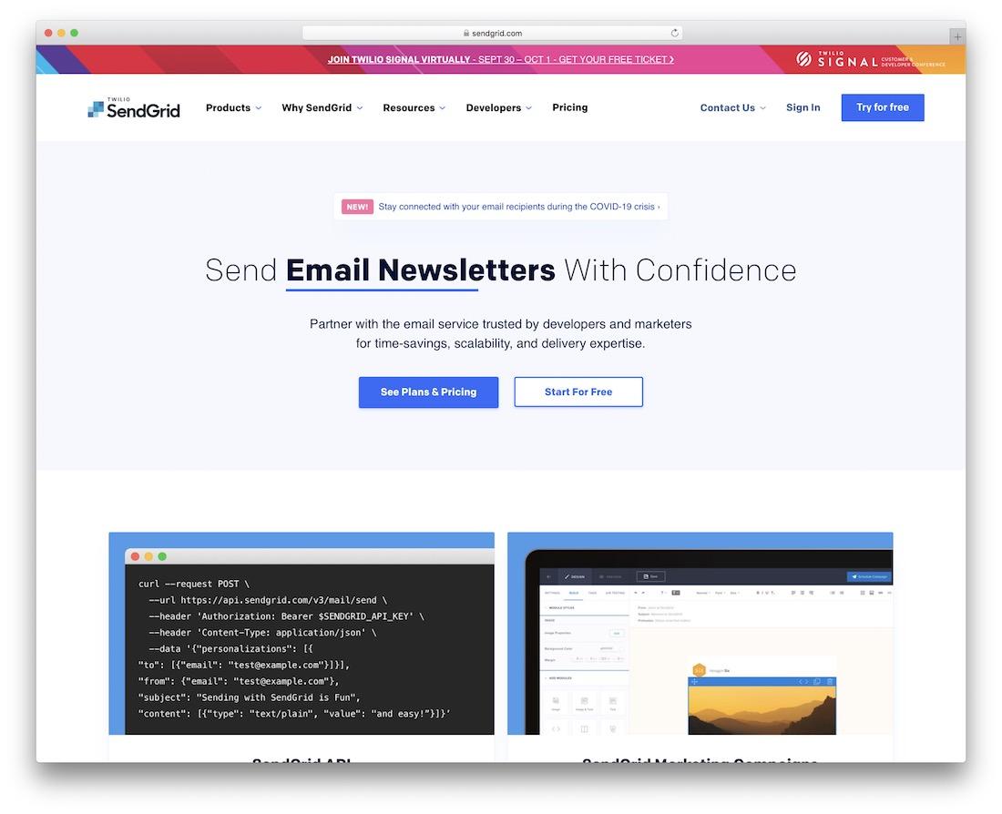 sendgrid email platform for developers