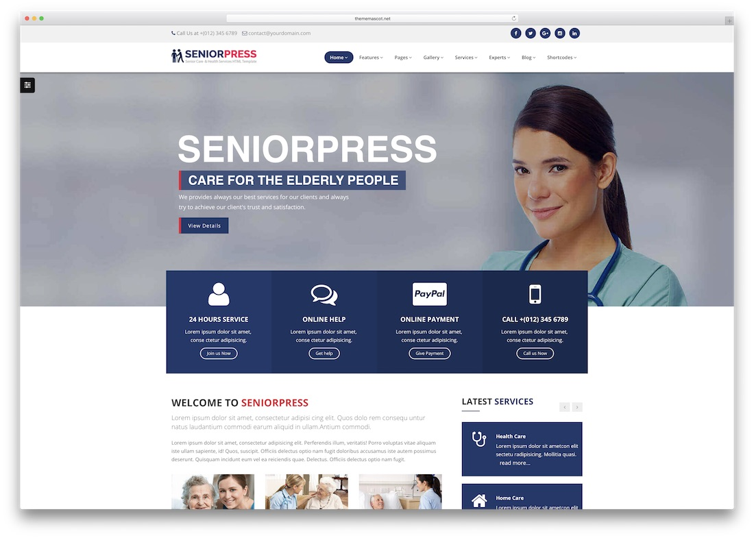 senior press medical website template