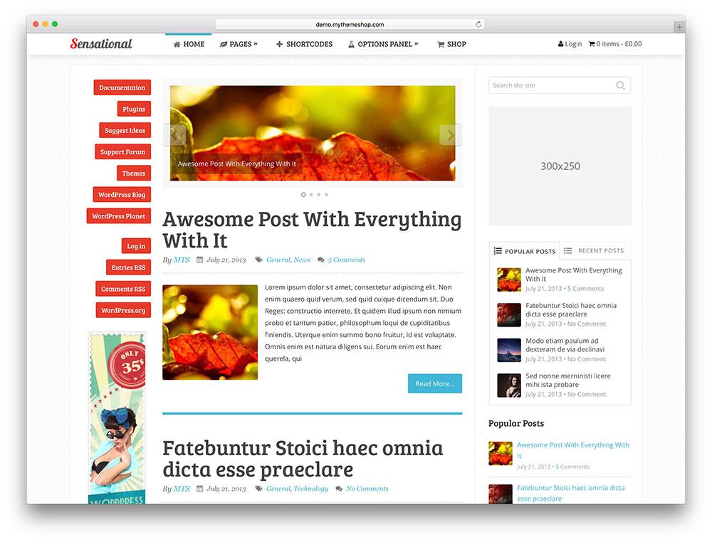 sensational - simple affiliate blog theme