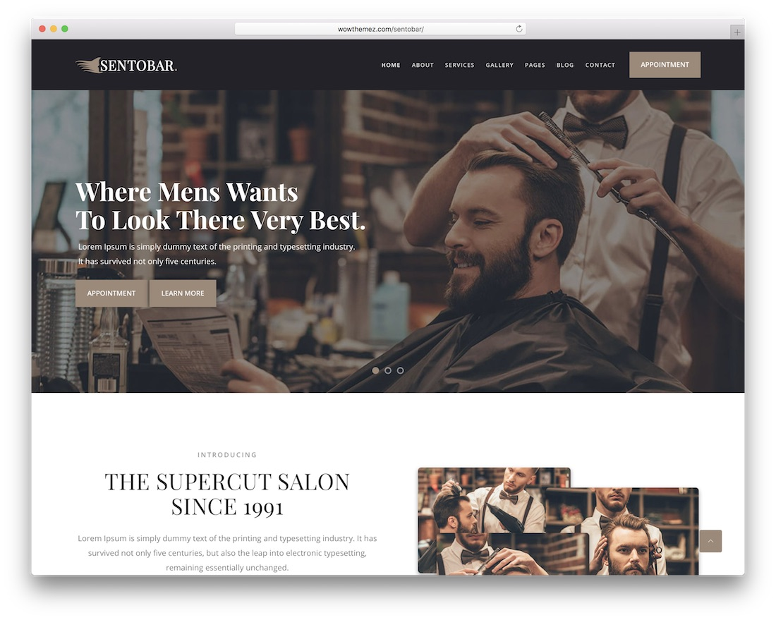sentobar hair salon wordpress theme