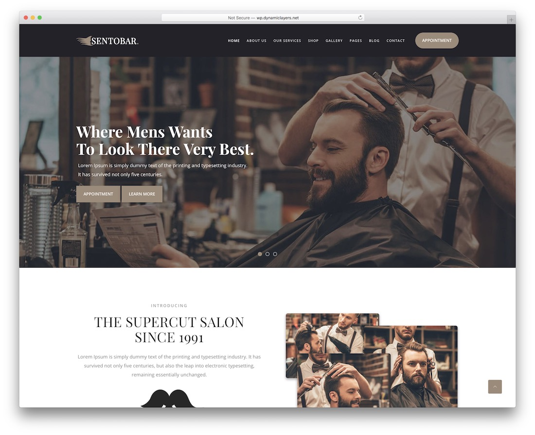 sentobar tattoo salon wordpress theme
