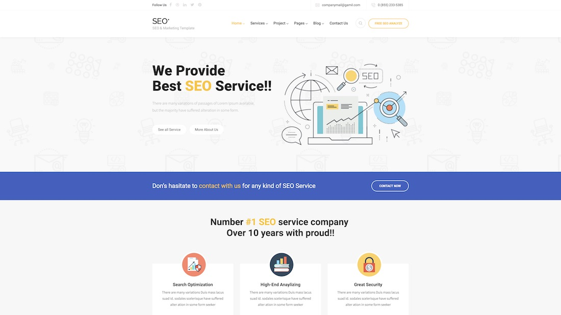 seo plus website template