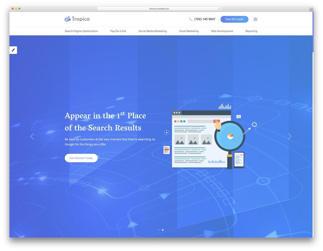 seo tropica marketing website template