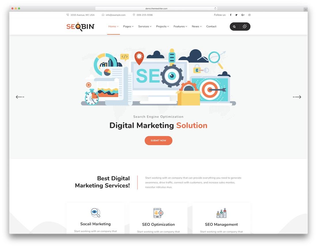 seobin marketing website template