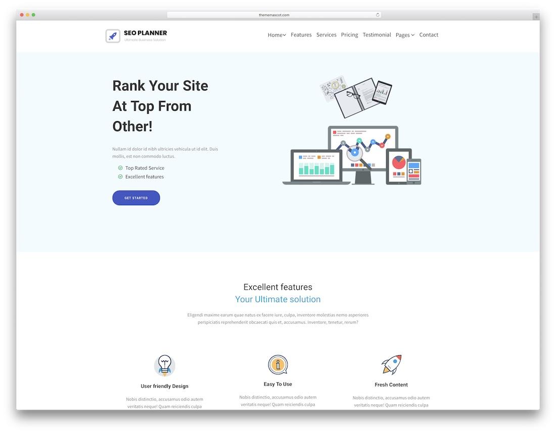 seoplanner marketing website template