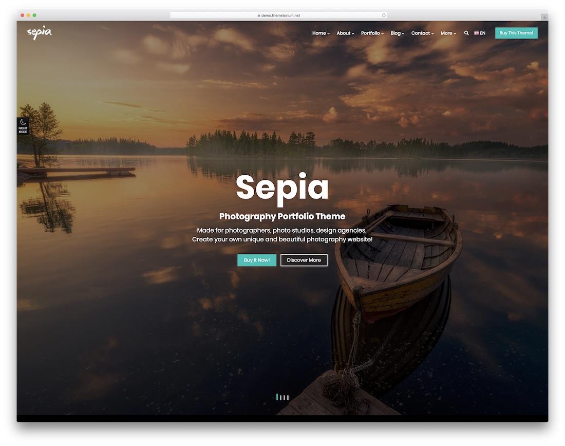sepia photo portfolio website template