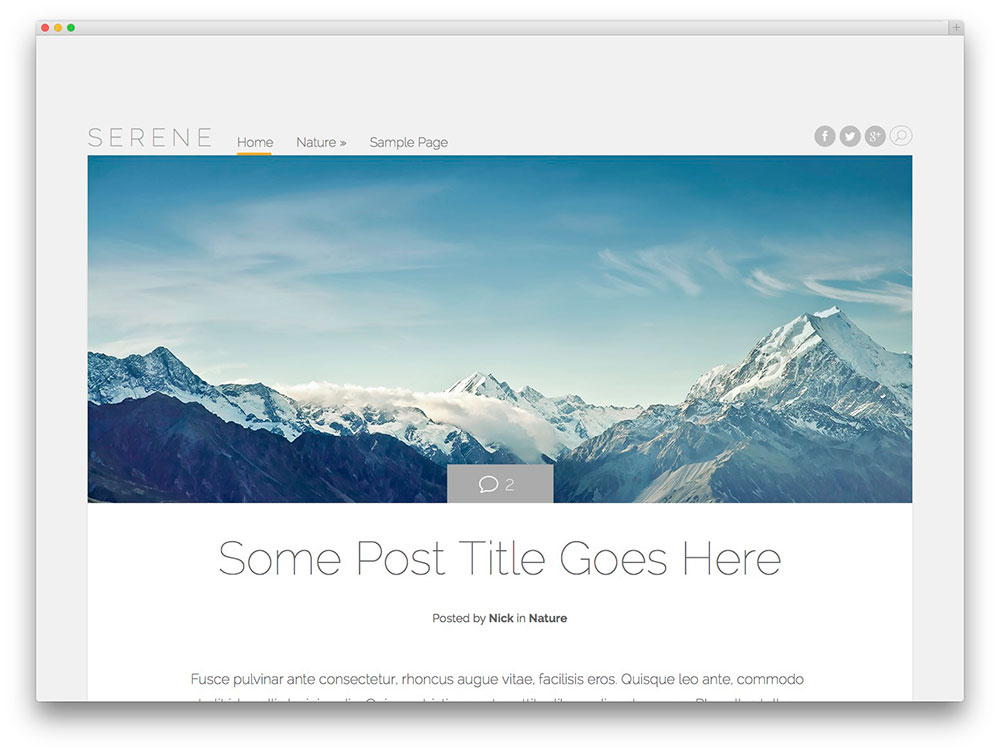 Serene WP blog theme