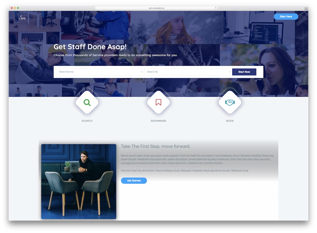 serv directory website template