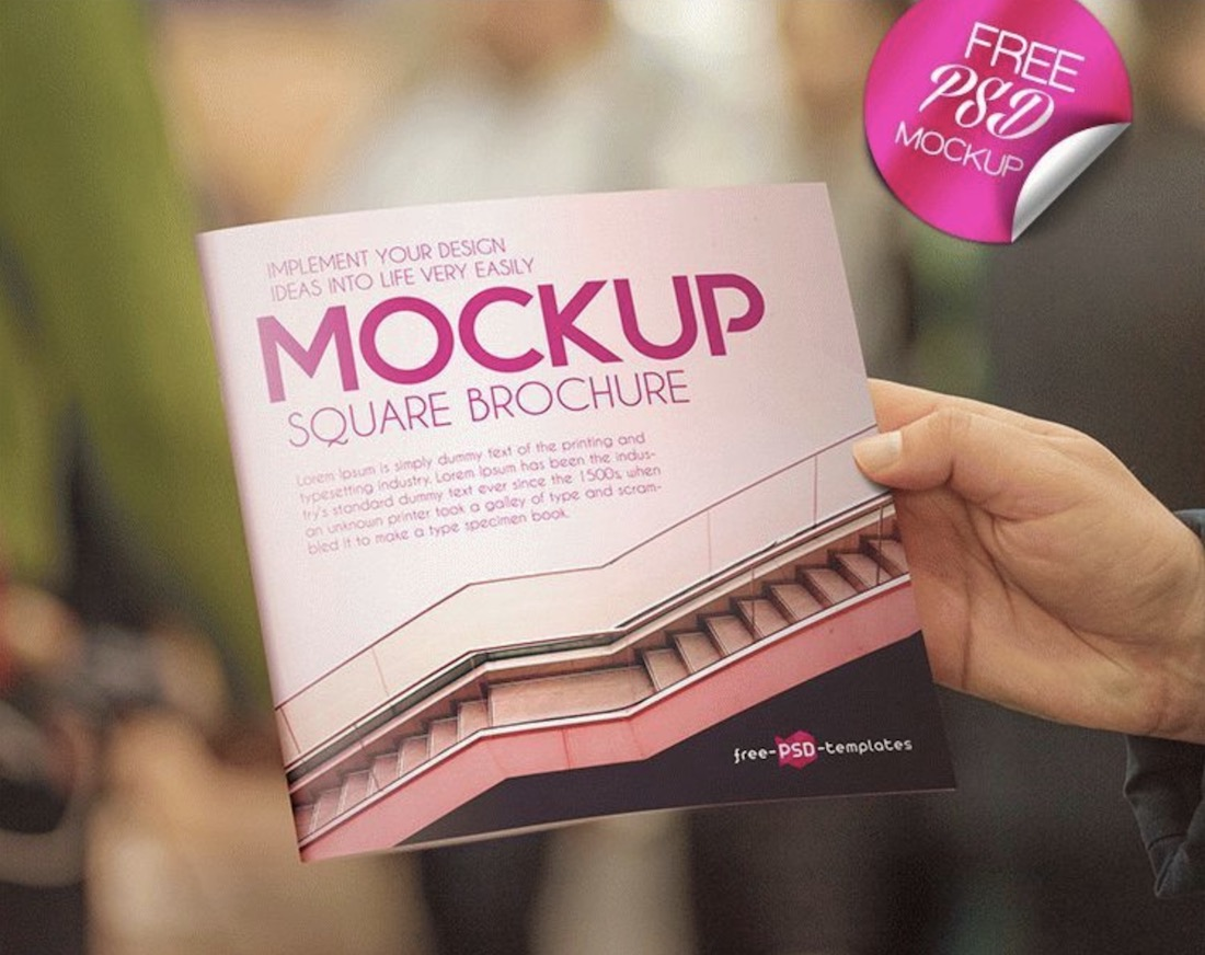 set of two free square brochures psd mockup