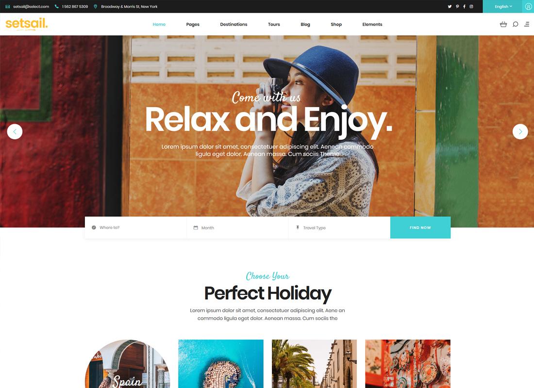 SetSail | Travel Agency WordPress Theme