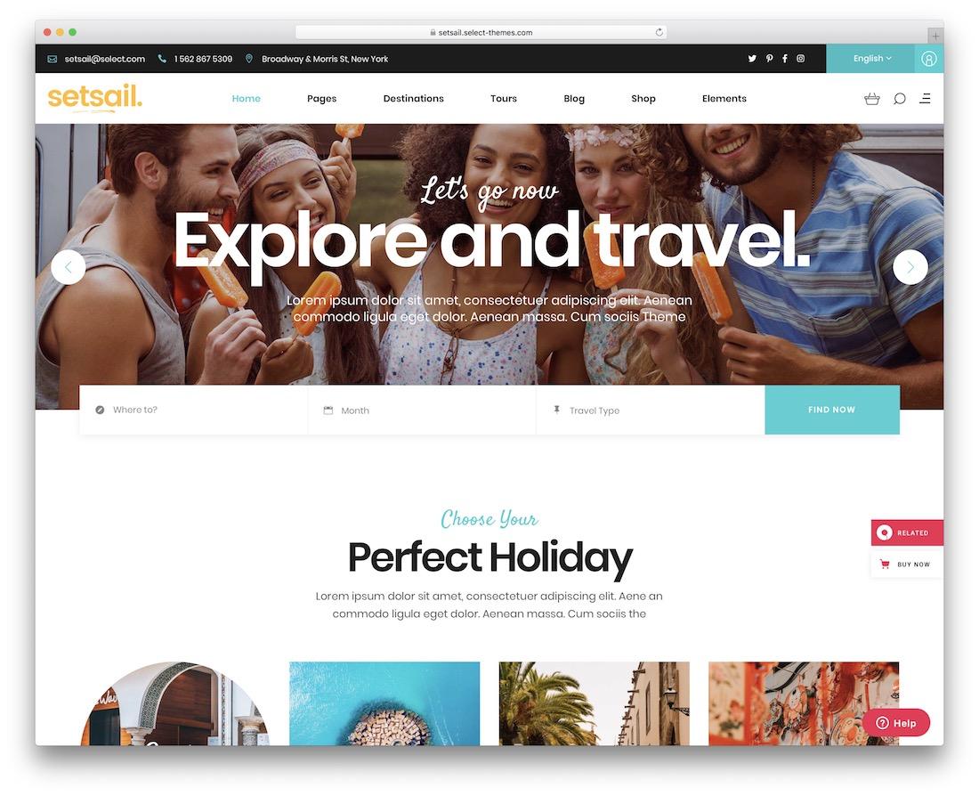 setsail travel agency wordpress theme