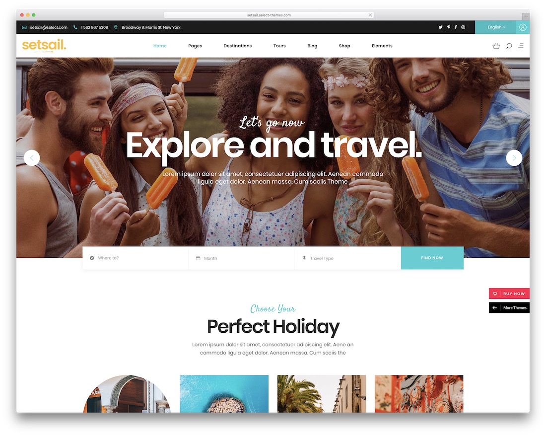 setsail travel agency wordpress theme