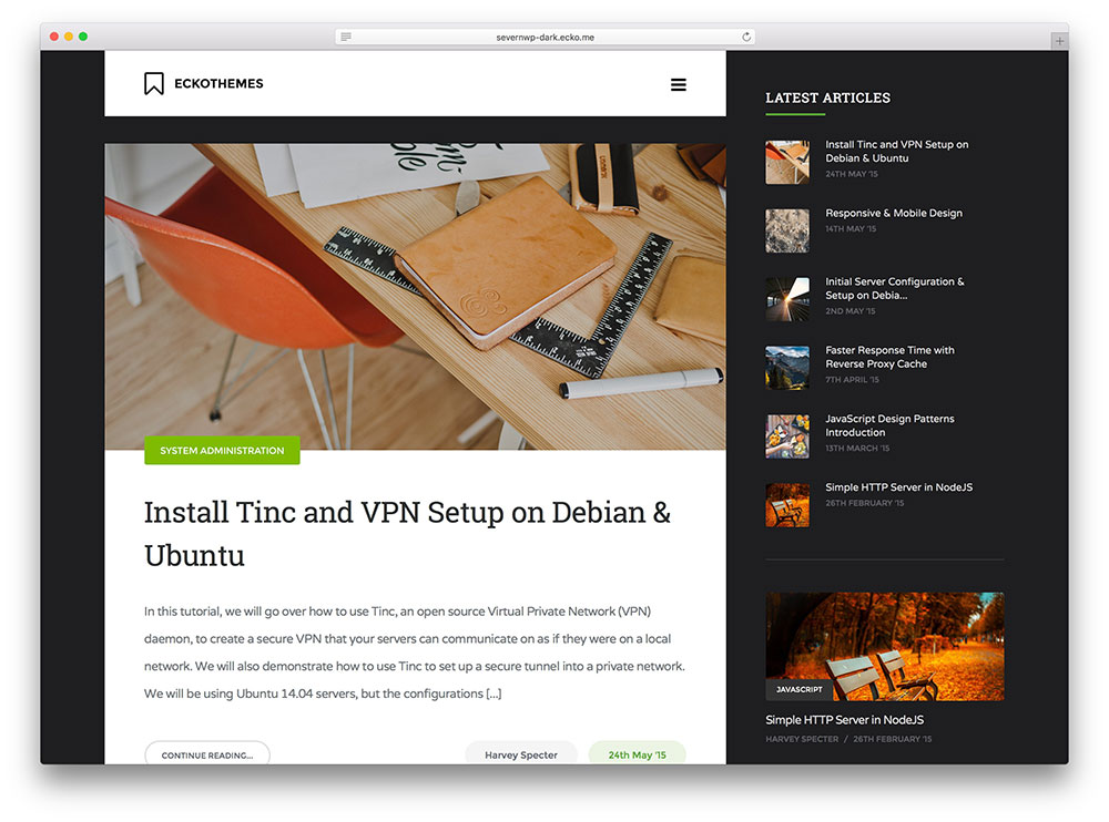 severn - dark WordPress blogging theme
