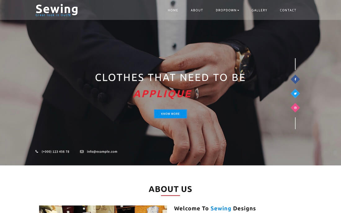 sewing free fashion website template