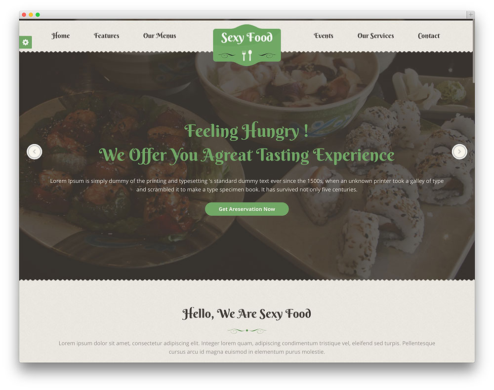 sexy food WordPress restaurant theme