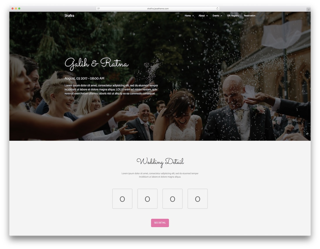shafira html wedding website template