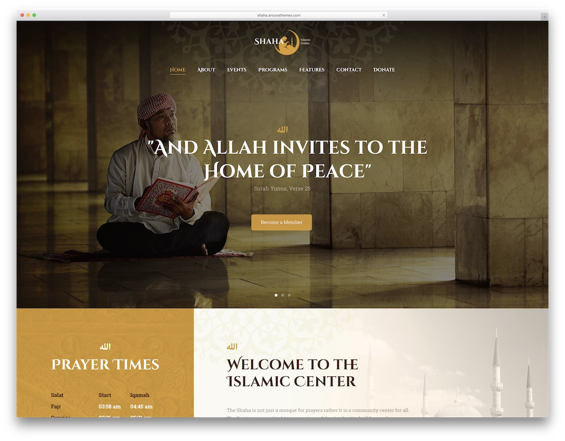 shaha religious WordPress theme