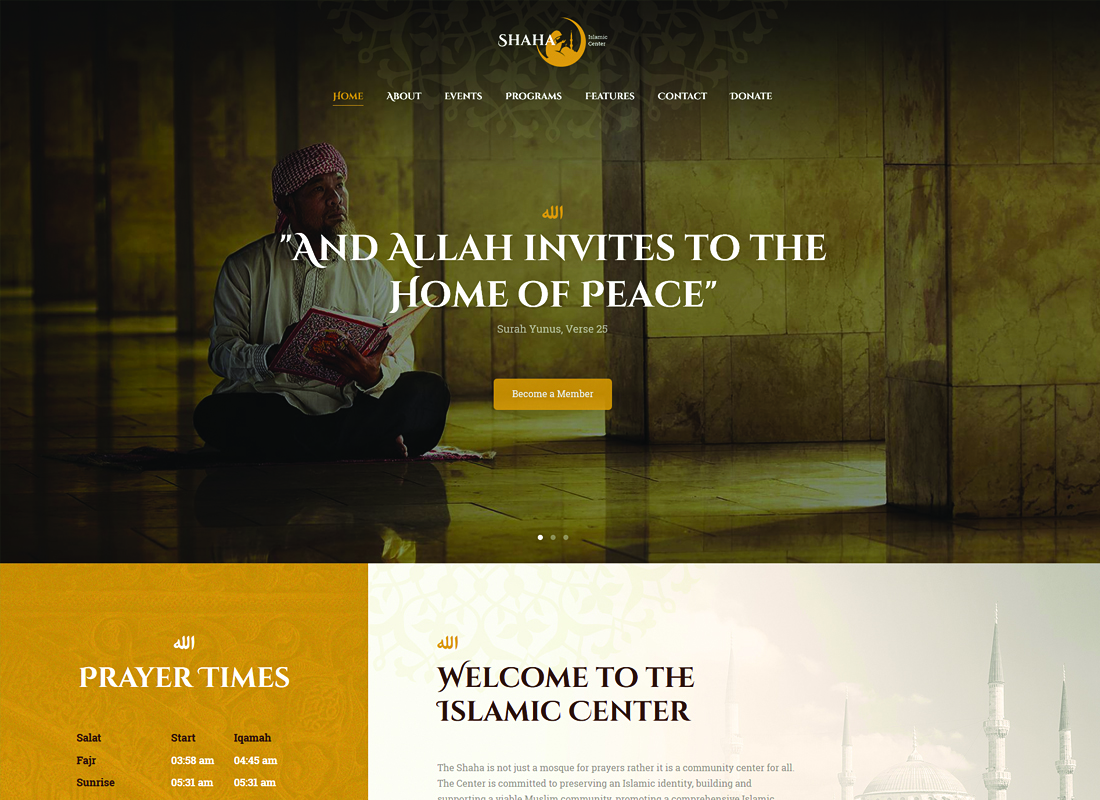 Shaha - Islamic Centre WordPress Theme + RTL