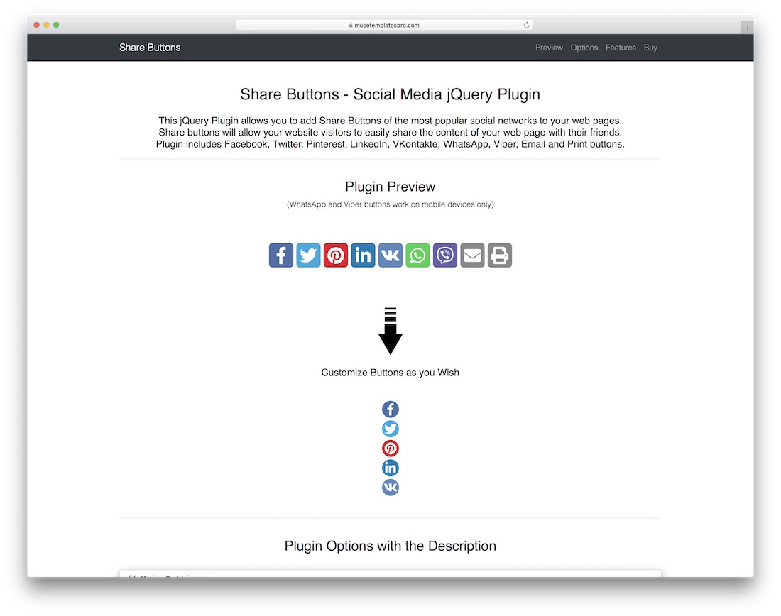 share buttons jquery plugin social media