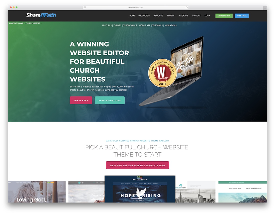 sharefaith church website builder