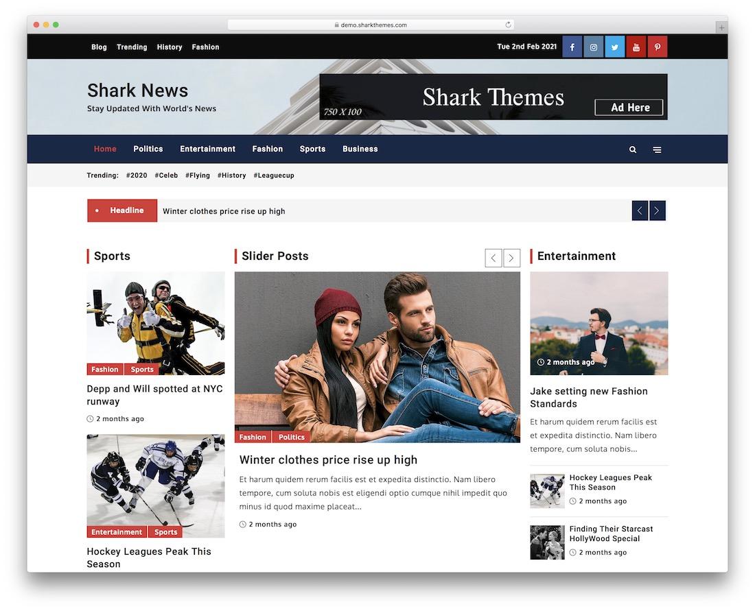 shark news free wordpress theme