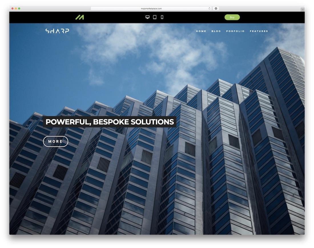 sharp free construction website template