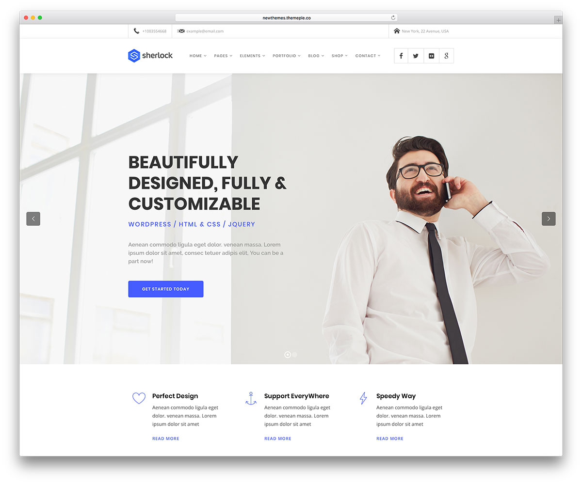 50 best wordpress corporate business themes of 2018 colorlib sherlock is an amazing wordpress theme that can adapt to the needs of business websites of all types it is a powerful tool that makes incredible pages in a cheaphphosting Choice Image