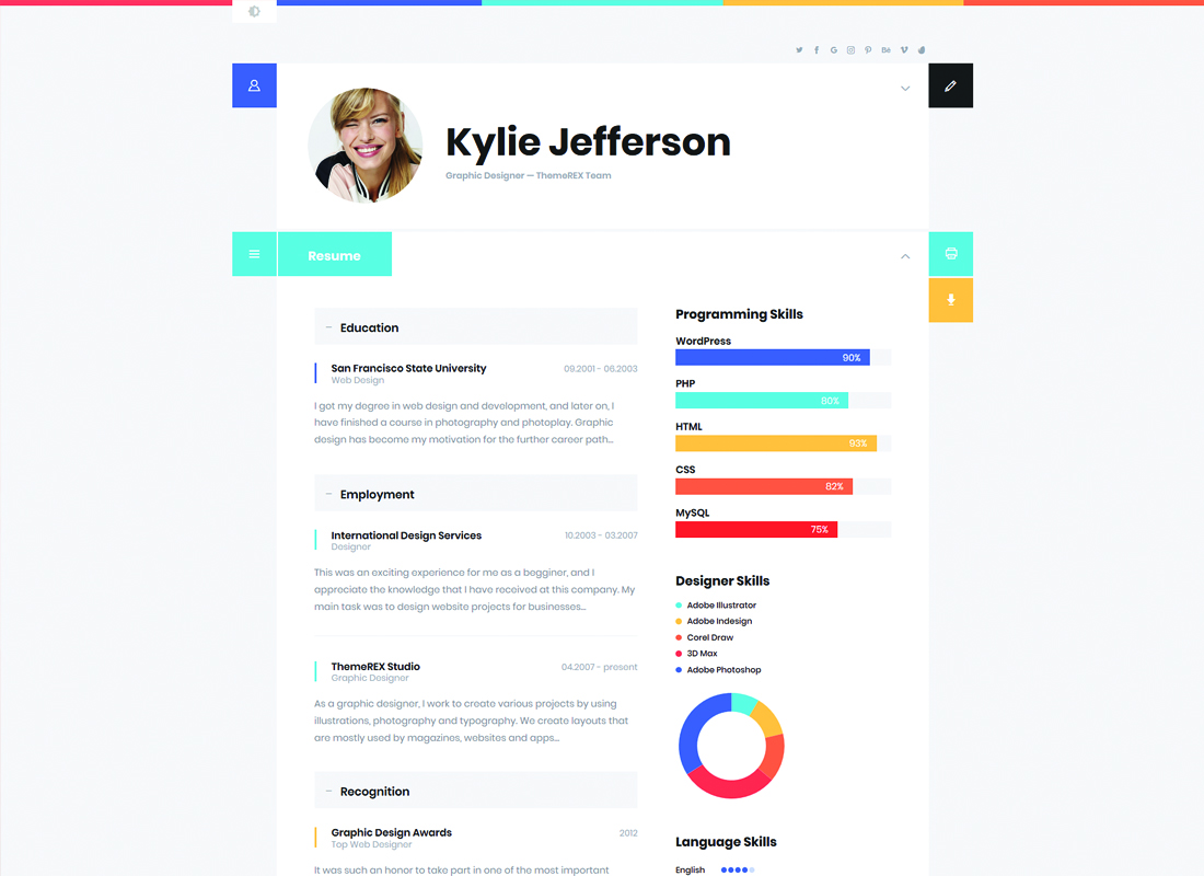 ShiftCV - Blog  Resume  Portfolio  WordPress Theme