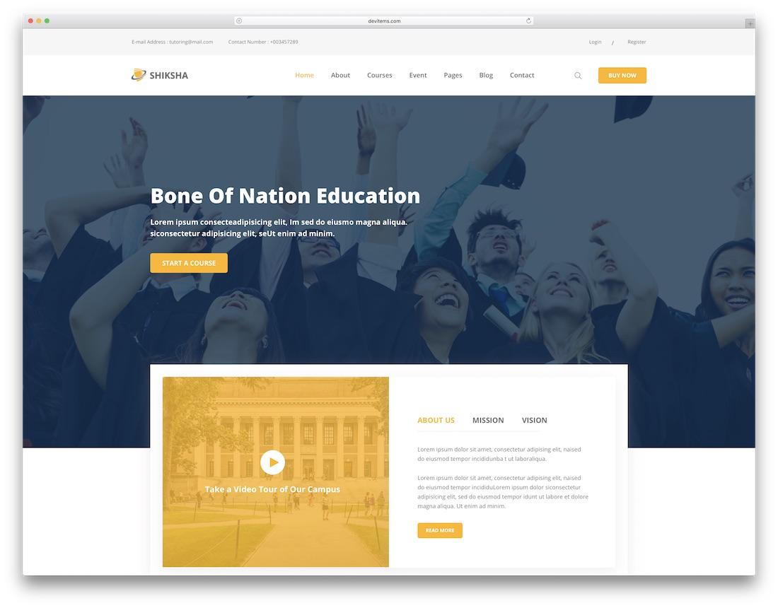 shiksha 학교 웹 사이트 템플릿