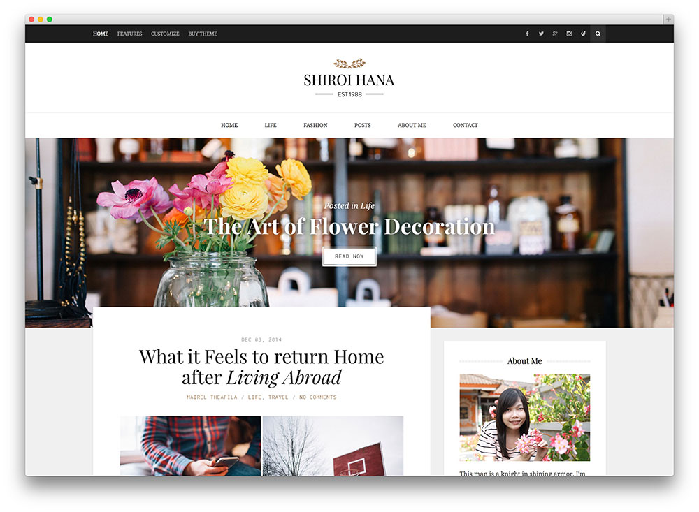 shiroi hana photography blogging theme
