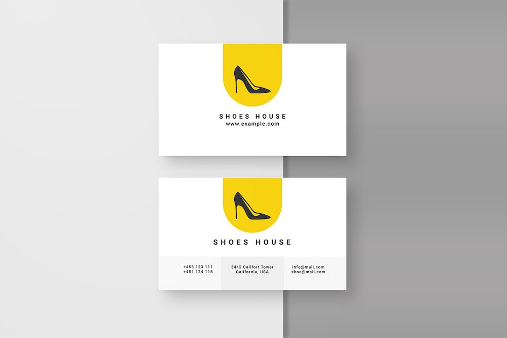 shoe business card template mockup