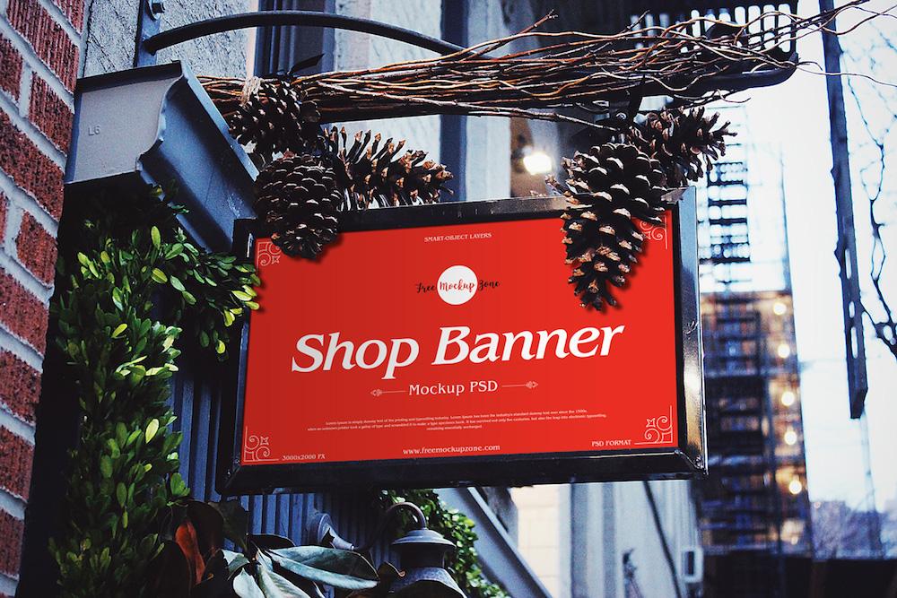 shop banner psd mockup