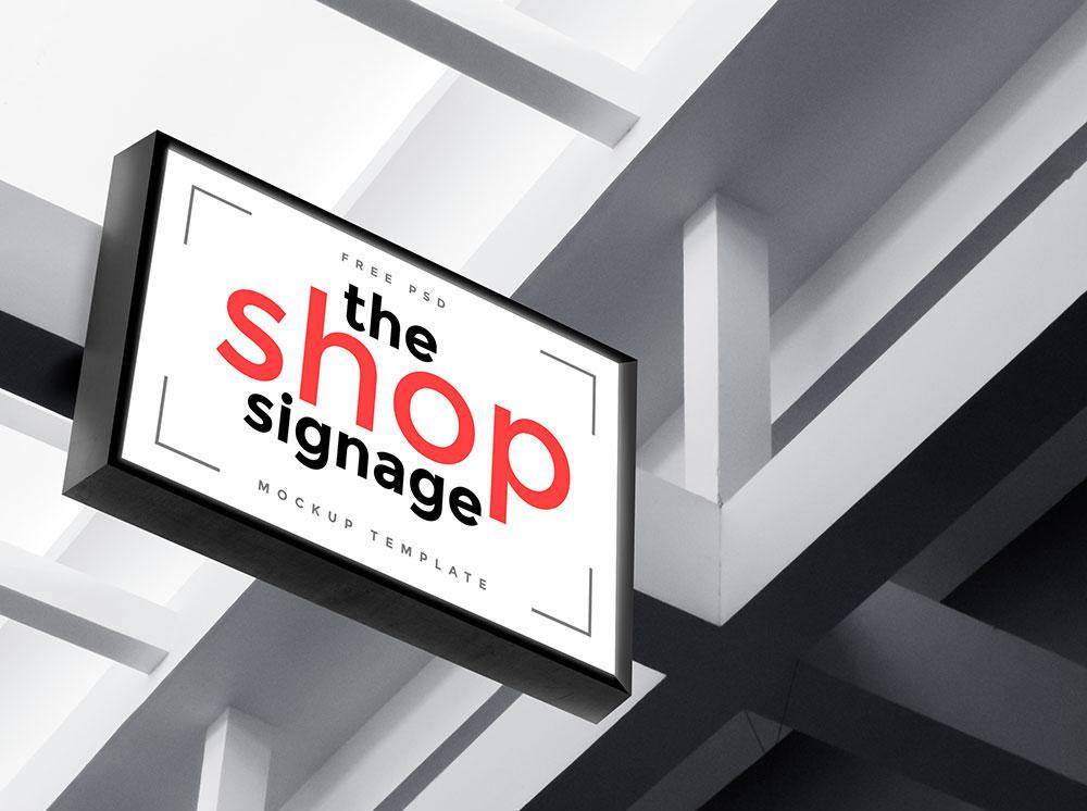 shop signage psd mockup