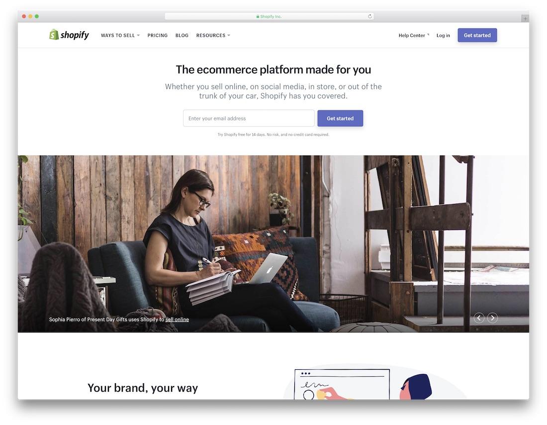 shopify beginner website builder