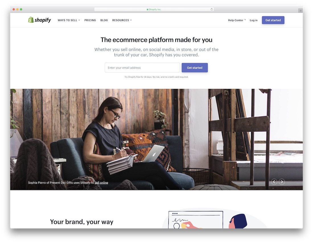 shopify website builder for online clothing store