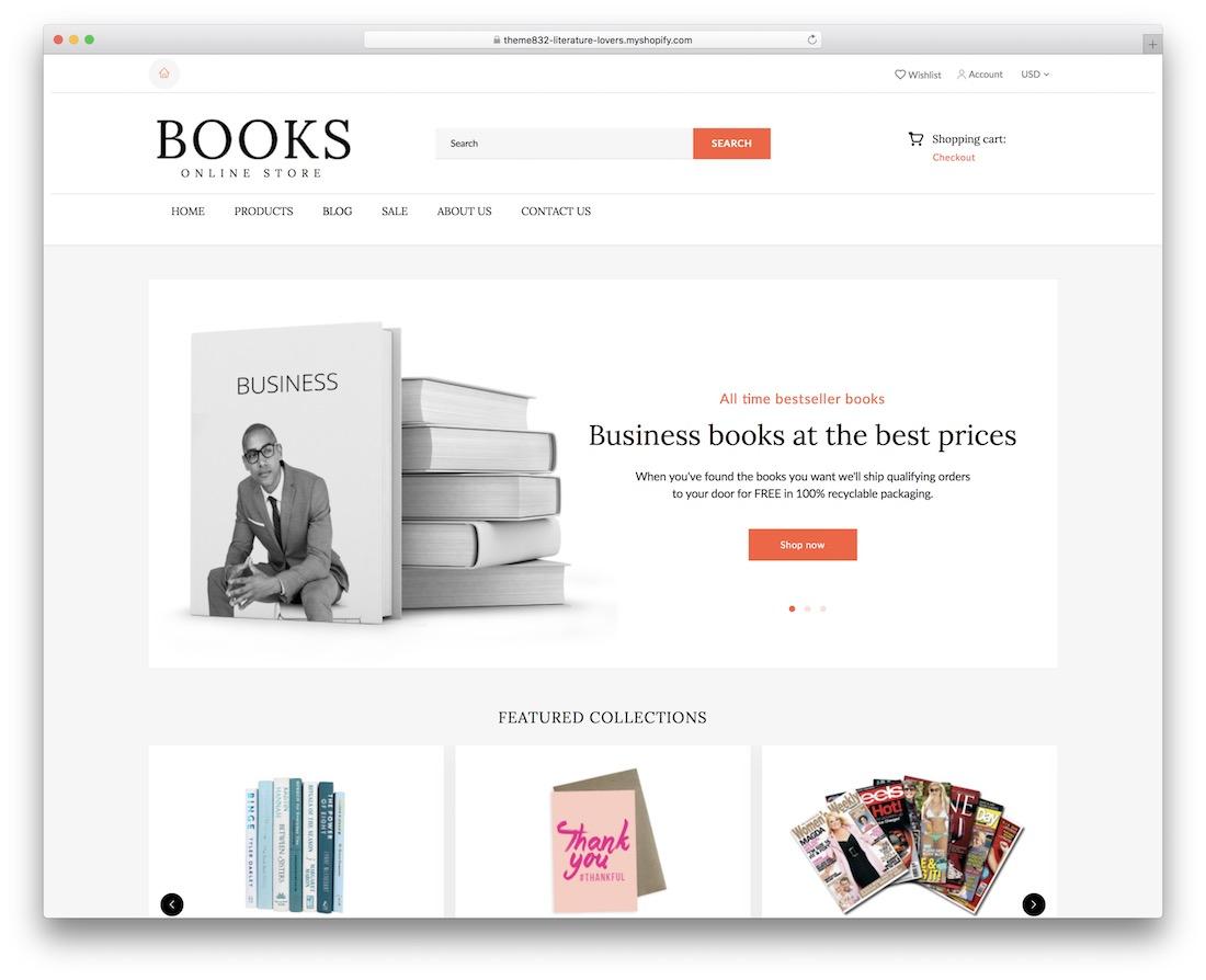 shopify books shopify bookstore theme