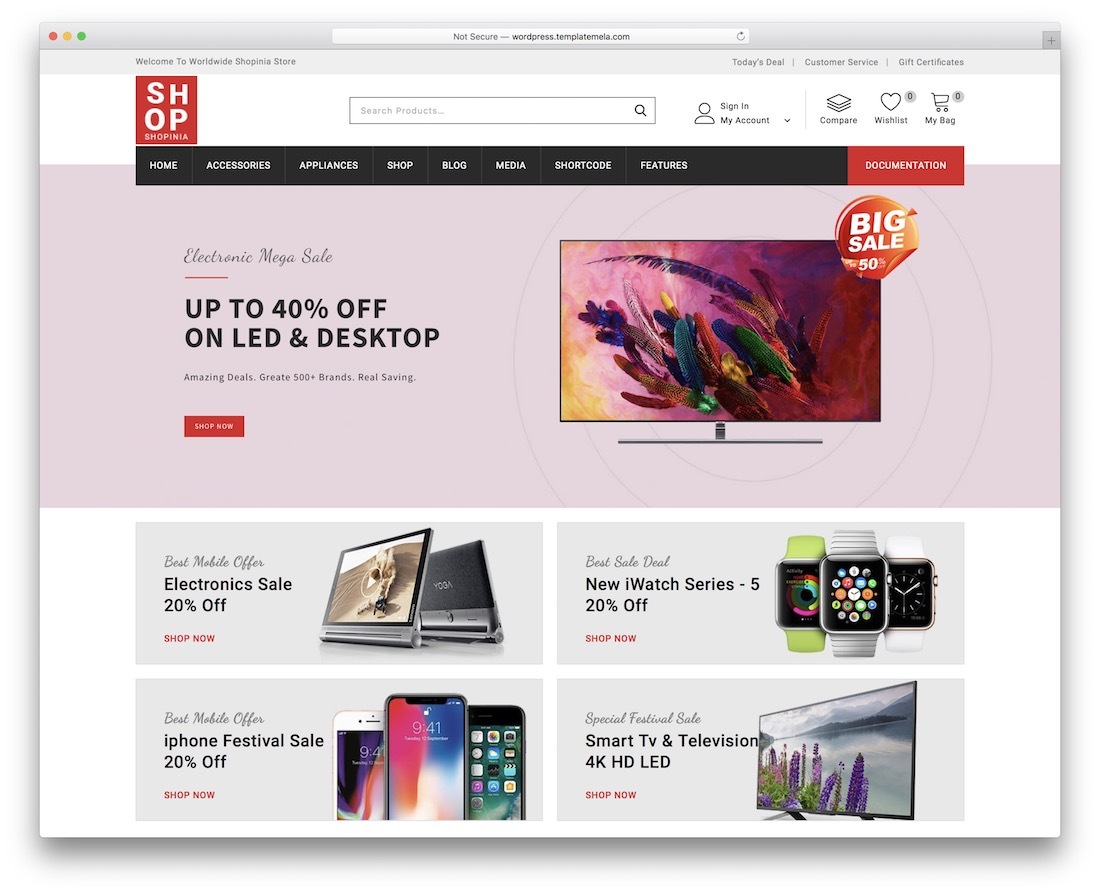 shopina wordpress cd dvd theme