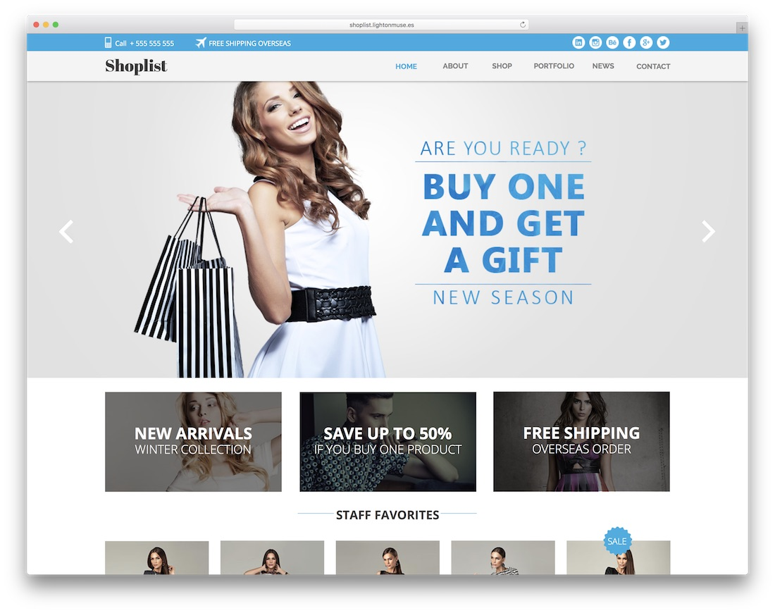 shoplist ecommerce adobe muse template