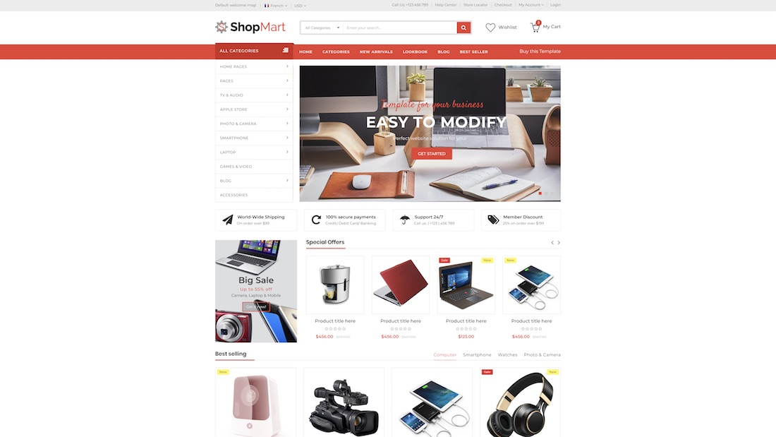 shopmart ecommerce website template