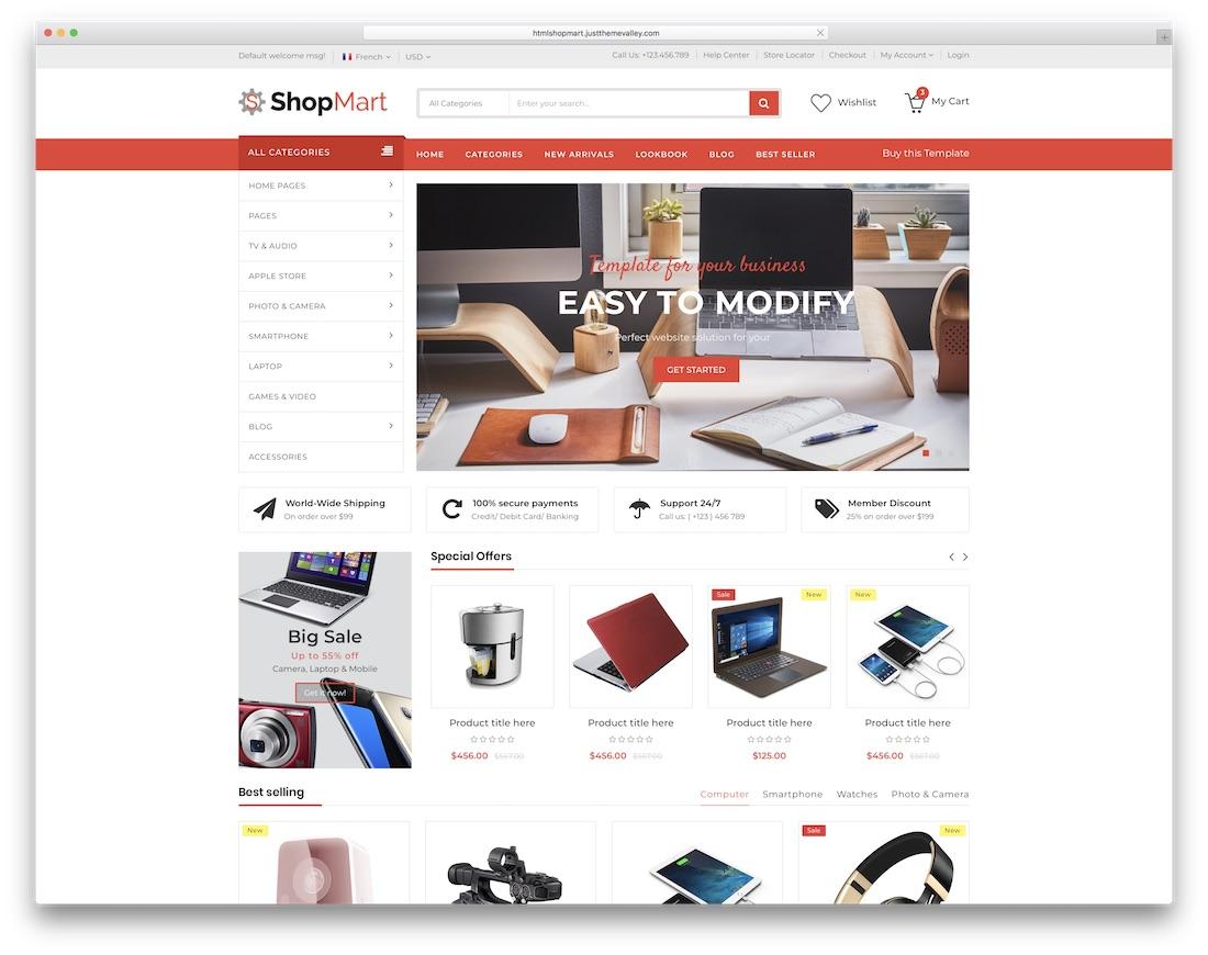 shopmart ecommerce website template
