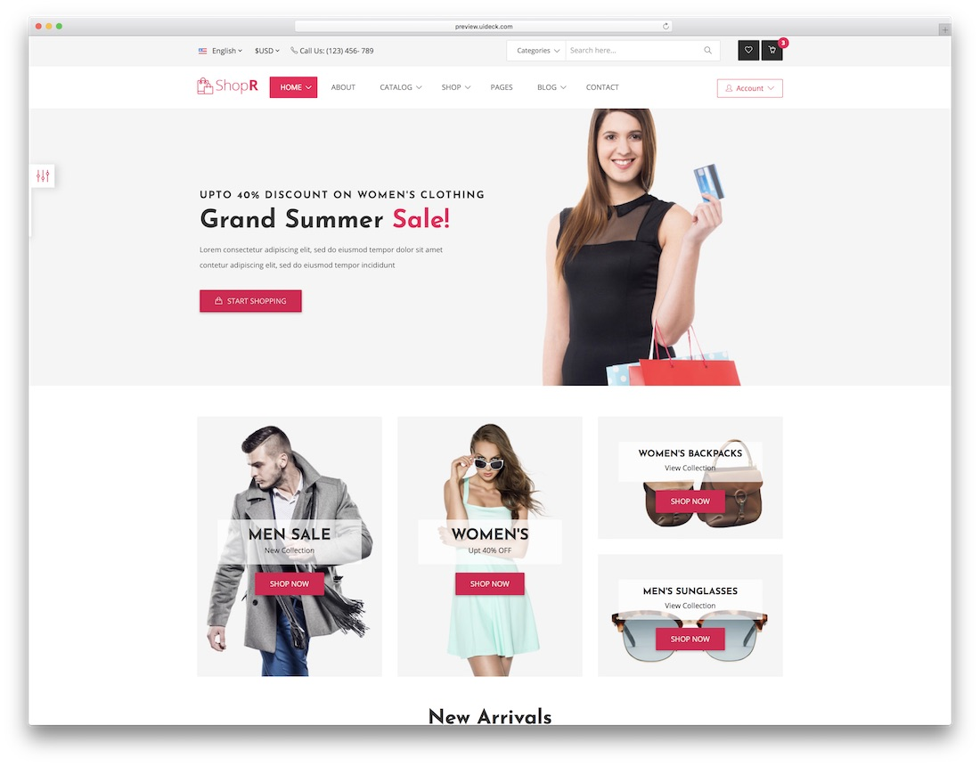 shopr fashion website template