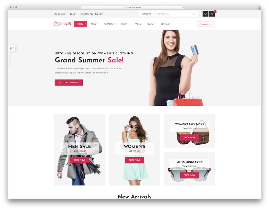 shopr fashion website template