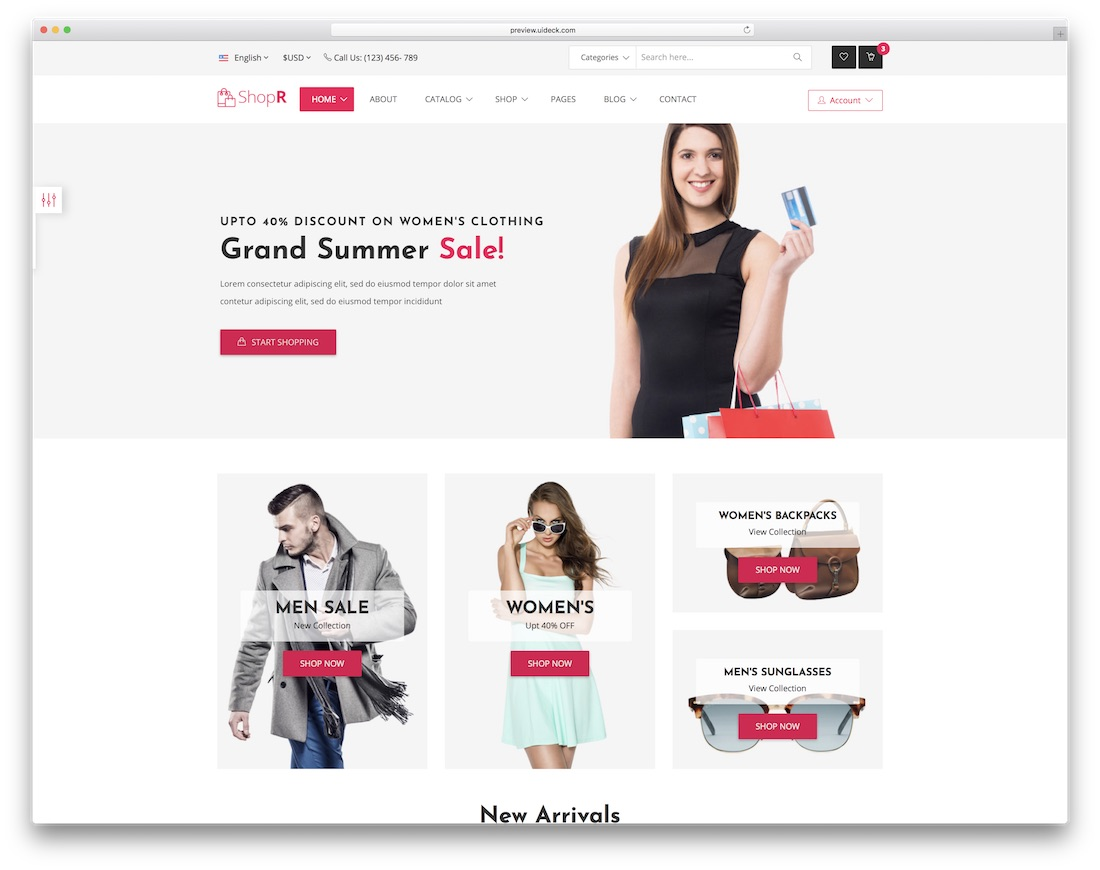 shopr ecommerce website template