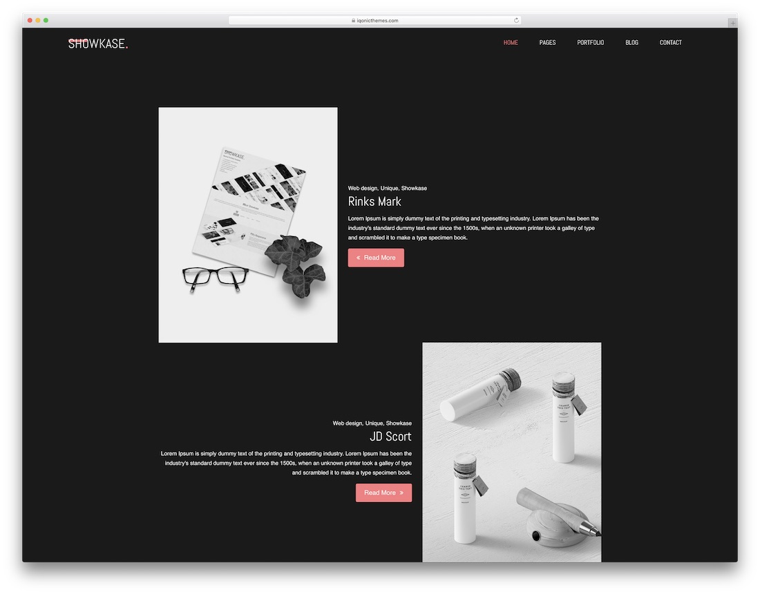 showkase freelancer website template