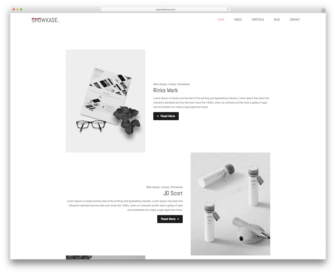 showkase minimal website template