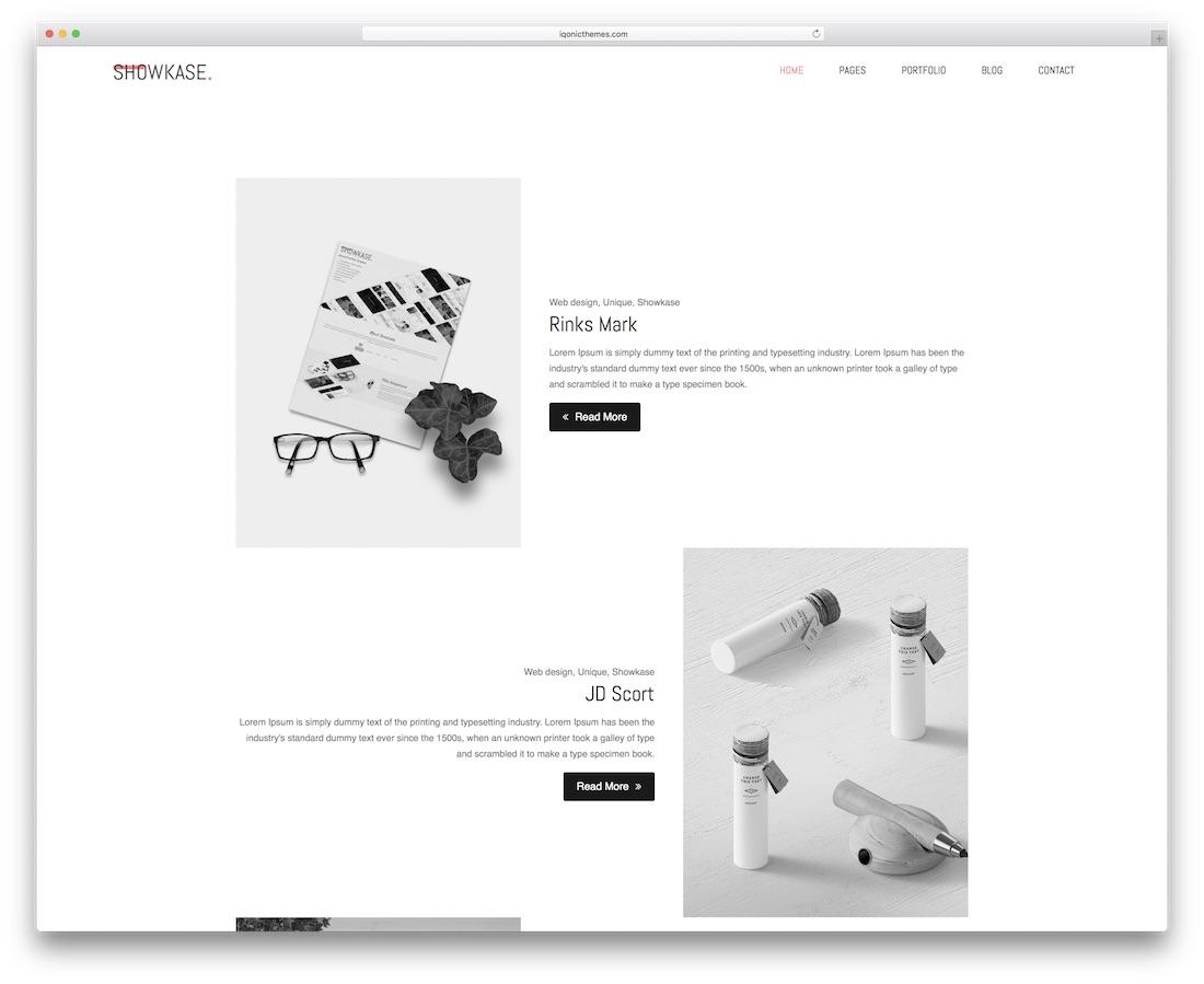showkase minimal website template