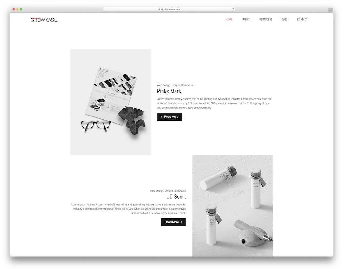 showkase simple bootstrap template