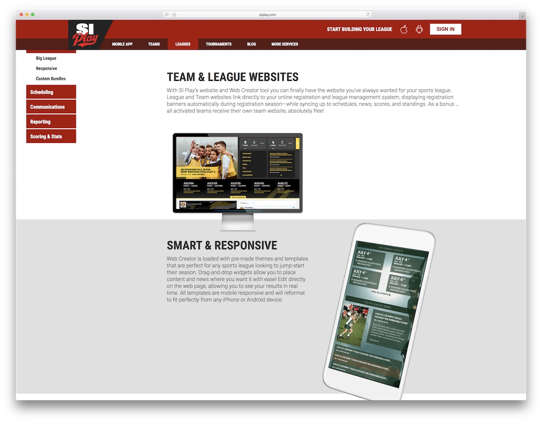 si play sports website builder