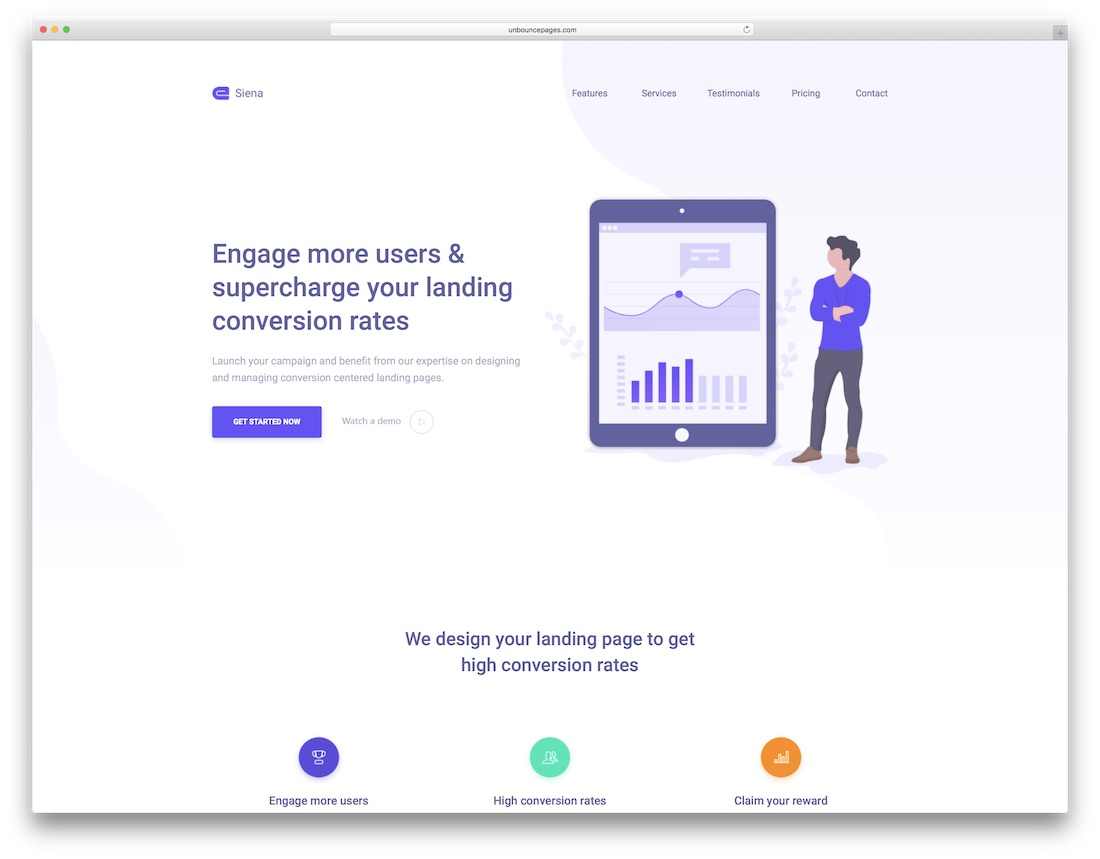 siena unbounce landing page template