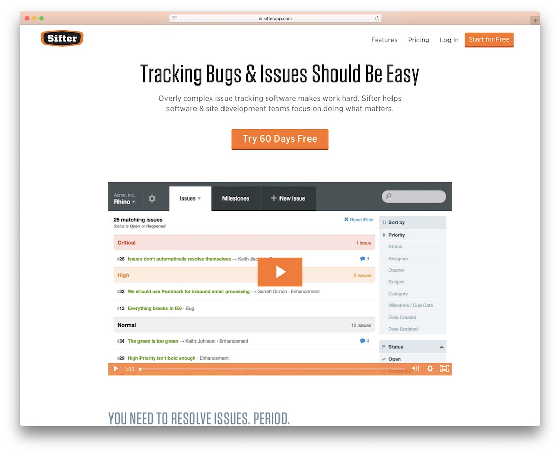 sifter tracking bugs